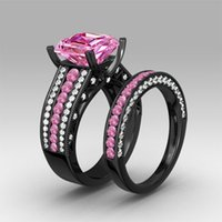 asscher cut engagement - NEW Solitaire Ring Luxury Pink and White Cubic Zirconia Asscher Cut Engagement Ring Sterling Silver Black Wedding Ring Set