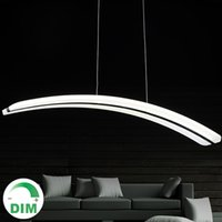 arc room - For Parlor dinning room V V long line PC PMMA arc curve crescent moon shape acrylic led pendant light lamp dimmable