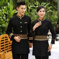 Wholesale Hotel uniform Long sleeved thickening suit for Hot pot restaurant hotel waiter overalls