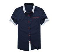 Wholesale Casual Men Shirt Summer Cotton Dress Shirts Slim Camisa Social Fashion Button Designer Short sleeved Men s Blouses
