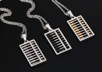 abacus pendant - 2016 New Stainess Steel Fashion Gold Abacus Pendant Men Chain Necklace Male Jewelry Black Silver cm