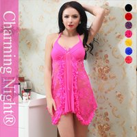 nighties - 2016 Charming Night free size new nylon women sexy lingerie hot nighties with G string for females