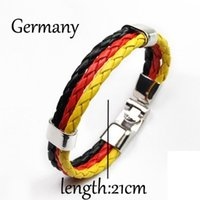 alloy category - 10 categories National Flag Style Braided Rope Surfer Faux Leather Bracelet Bangle Wristband Multi colors Optional Zebra