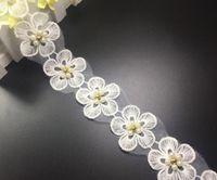 beaded trim fabric - 15Yard Flower Pearl Beaded Organza Lace Fabric Trim Ribbon For Apparel Sewing DIY Collar Doll Cap Hair clip