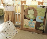baby bedding frogs - 9 Pieces Embroidered frog tortoise owl Baby Bedding Set include Quilt Bumper Mattress Cover Bed Skirt Blankets Diaper Bag