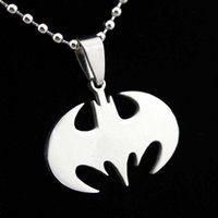 bat pendant - Fashion Silver Chain Men Necklaces Jewelry Slippy Bat Batman Sign Pendant Stainless Steel Pendant with Chain Necklace