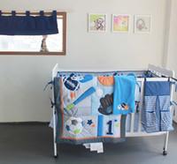 baby boy curtains - 10pcs D stereo ball sport embroidered baby bedding Quilt Bumper Sheet Skirt Mattress Cover diaper bag window curtain blanket