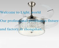 Wholesale American modern Style Led lights Collapsible fan Crystal Chandelier with Remote Control quot Lightcolor adjustable Freeship