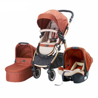 baby carrycot - 3 in Travel System High view Folding Baby Stroller Pushchair Carrycot Car Seat Multifunction Baby Pram Children Travelling Sys