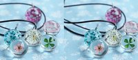 Bohemian ball clover - New Charm jewelry flower Clover in glass ball pendant necklace DIY handmade leaher rope necklaces party holiday festive gift drop shipping