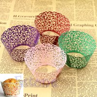 Wholesale 50pcs White Laser Cut Paper Wedding Cupcake Wrappers Pink Vine Lace Cup Cake Box Birthday Party Favor Baby Shower Decorations
