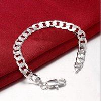 8M Flat Sideways Bracelet Argent Chaîne Chain Link Bracelet Placage Argent 925 Infinity Bracelets Bangles Accessoires Bijoux