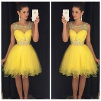 Желтые летние короткие платья