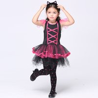 baby cat costumes - Halloween Girls Kitty Costumes Children Cat Girl Cosplay Fancy Ball Pink Lace up Tulle Tutu Dresses Baby Kids Party Dancing Dresses DHL free