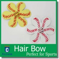 baseball clips - 2016 Softball Flower Accessory and hair clip softball hair bows softball hairbow baseball hairbow