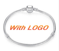 Wholesale cm Silver Plated Bracelet Snake chain with Barrel Clasp Fit European Beads With Pandora Logo Bracelet Jewelry