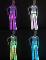 Wholesale TOP FASHION light up women tank top led pants luminous LED lighting up fashion ballroom dance nights pants for girls