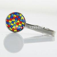 autism pin - Promotion Autism Heart silver metal tie pin Fashion simple autism tie tacks exquisite Color mosaic Tie Clip T