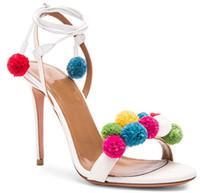 Precio de Lazo de lana-2016 Nuevos zapatos de las sandalias del cauce de los altos talones de la manera Mujeres colorearon las bolas de las lanas atan para arriba el tobillo ató las sandalias del gladiador Sandalias de las mujeres