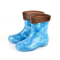 Wholesale Hot Sales Women Rain Boots Fashion Leopard Printing Water Shoes Warm Plush Lining Rainboots Anti Slip JL0039