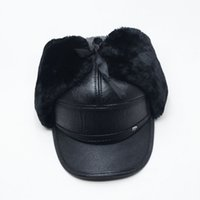 Wholesale Winter Hats For Men Leather Warm Fur Hat Aviator Cap With Ear Flaps Russian Caps Leifeng Beanies Hot Sell