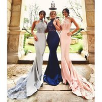 Wholesale Sexy Mermaid Halter Bridesmaid Dresses Navy Blue Appliqeus Beaded Sequins Long Orom Gowns Women Pink Formal Party Dress