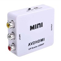 Wholesale 2016 min RCA AV Male to HDMI Female Converter Adapter Full HD P Mini Composite CVBS to HDMI AV2HDMI Audio Converter