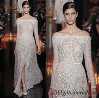 Wholesale Elie Saab Couture Lace Split Side Evening Dress A Line Floor Length Bateau Neckline Long Sleeve Applique Beads Sash Backless Prom Gowns