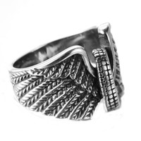 american motorcycle tires - Men s Stainless Steel Motorcycle Tire Wings Punk Vintage Style Band Ring Avivahc