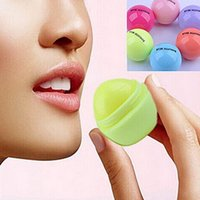 ball lip gloss - Round Ball Moisturizing Lip Balm Lipstick Organic Ingredients Lip Protector Sweet Taste Fruit Embellish Lip Ball Makeup Lipstick Gloss