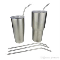 Wholesale 304 Stainless Steel Bend Drinking Straw With Cleaning Brush for Double Wall Vacuum Insulated Yeti oz oz Rambler Tumbler Cups summer hot