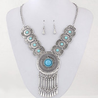 Earrings & Necklace alloy dark blue - Retro Collares Jewelry Sets For Women Fine Accessories Wedding Bridal Circle Part Pendant Necklace Earrings Set