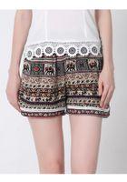 Wholesale 2016 Summer new Europe America women elastic waist lace beach pants hot pants plus size loose print short pants fashion print ladies short p