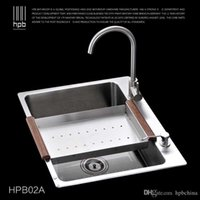Wholesale Han Pai Stainless Steel Single Bowel Thicken Square Brushed Artesanato Kitchen Sink Faucet Fregadero HPB02A
