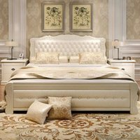 Wholesale double bed with new fashion design solid wood