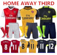 Wholesale 2016 Gunners Soccer Sets Uniform Home OZIL WILSHERE RAMSEY ALEXIS GIROUD Welbeck Third Arsenals Jerseys Kits Suit With Short Socks