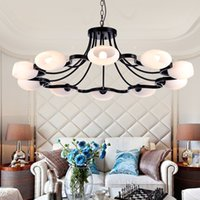 atmospheric led lights - American droplight sitting room light Restoring ancient ways wrought iron chandelier simple atmospheric Nordic restaurant lamp bedroom lam