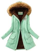 Wholesale New Style Women s Winter Warm Coat Hood Parka Overcoat Long Jacket Outwear Faux Fur Hooded Cotton padded Coat Parka Long Jacket