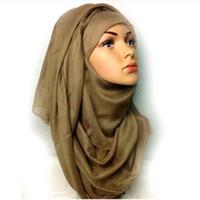 Wholesale Scarves Islamic Women - 2016 Large maxi plain scarf solid hijab fashion wraps foulard viscose cotton shawls soft islamic muslim women scarves hijabs 12 17 FS001