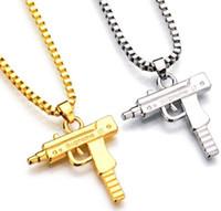 al por mayor collar de hip hop joyería de moda-Nueva Uzi cadena del oro de Hip Hop del collar largo pendiente de la manera mujeres de los hombres a estrenar del arma joyería de la forma de pistola colgante Maxi collar de HIPHOP