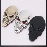automotive emblems - High quality D Skull metal skeleton skull bone crossover label sticker emblem badge automotive styling