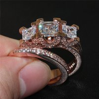 La moda de lujo 925 joyería de oro de ley silverrose establecen tres Plaza de piedras preciosas Anillos CZ coloca el dedo anular de la novia de la boda para las mujeres