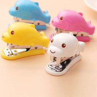 Wholesale 2pcs Lovely Cartoon Dolphins Design Mini Stapler Stationery portable primary school students gift Office Binding Supplies