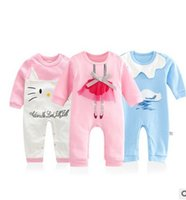 Cheap 2016 New Baby Girls Romper Cute Cat Swan Printed Long Sleeve Cotton Toddler Jumpsuit Infant Clothing Newborn Bodysuits 6993