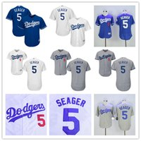 Wholesale Los Angeles Dodgers Corey Seager LA Baseball Jerseys Grey White Blue Cool Top Quality on Sale