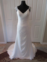 Wholesale 2016 Summer Beach Wedding Dresses by Stella York Real Photos Spaghetti Neck Ruched Lace Chiffon Fit and Flare Bridal Gowns with Open Back
