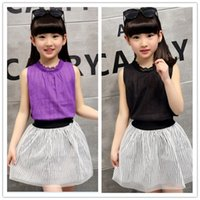 big purple button - 2016 Summer Big Girls Summer Outfits Lace Sleeveless Tank Tops Tulle Striped Skirt Sets Casual Children Outfits Blue Pink KB420