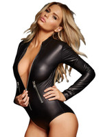 Wholesale Sexy Deep V neck Bodycon Jumpsuits Womens Newest Black Wet Look Faux Leather Short Bodysuit Slim Sexy Night Club Rompers LC3259