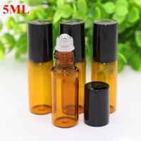 Wholesale ml oz ROLL ON AMBER Fragrance Glass Bottles Essential Oil Glass Metal Roller Ball Aromatherapy Bottles