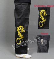 Wholesale embroidery dragon nunchakus pants kung fu martial arts training trousers high quality